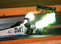 Oct 18, 2019; Ennis, TX, USA; NHRA top fuel driver Jordan Vandergriff during qualifying for the Fall Nationals at the Texas Motorplex. Mandatory Credit: Mark J. Rebilas-USA TODAY Sports