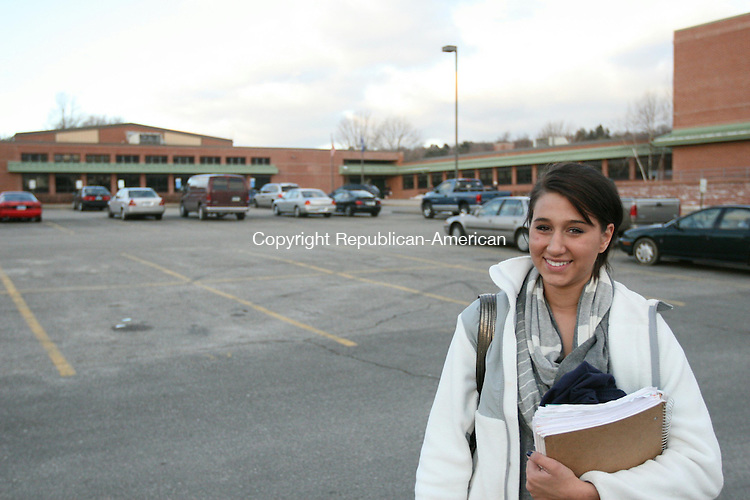 """TORRINGTON, CT - 20 January, 2010 - 012010MO01 - Oliver Wolcott Technical High School Senior Leah Pace of Harwinton said students are generally opposed to a new school uniform policy being proposed for the 2010-11 school year, a policy that many students feel would """"take away our individuality."""" Jim Moore Republican-American."""
