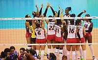 PER10. CAÑETE (PERÚ), 24/06/2017.- Las jugadoras de República Dominicana celebran tras ganar a Puerto Rico hoy, sábado 24 de junio de 2017, durante un partido entre Puerto Rico y República Dominicana por la fase semifinal de la Copa Panamericana de voleibol femenino en categoría adultos, disputado en el coliseo Lolo Fernández de la ciudad de Cañete (Perú). EFE/Andrés Lino