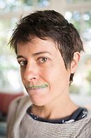 Annuska and her green juice moustach. Last days in Mexico, Edificios Condesa, Mexico City, Mexico