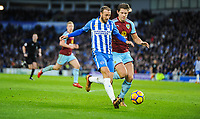 Glenn Murray of Brighton & Hove Albion (17)  wins a penalty  during the EPL - Premier League match between Brighton and Hove Albion and Burnley at the American Express Community Stadium, Brighton and Hove, England on 16 December 2017. Photo by Edward Thomas / PRiME Media Images.