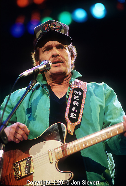 Merle Haggard, April 1987, Oakland Coliseum Arena. American country music singer, guitarist, instrumentalist, and songwriter. Along with Buck Owens, Haggard and his band The Strangers helped create the Bakersfield Sound, which is characterized by the unique twang of Fender Telecaster guitars, vocal harmonies, and a rough edge not heard on the more polished Nashville Sound recordings of the same era.<br /> <br /> By the 1970s, Haggard was aligned with the growing outlaw country movement, and has continued to release successful albums through the 1990s and into the 2000s.