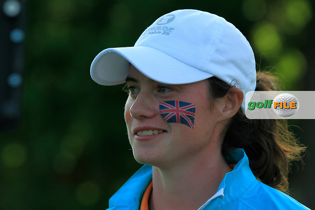 Leona Maguire after winning on the 14th green during the Saturday Afternoon Fourballs of the 2016 Curtis Cup at Dun Laoghaire Golf Club on Saturday 11th June 2016.<br /> Picture:  Golffile | Thos Caffrey