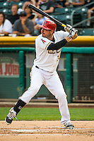 Matt Joyce (30) of the Salt Lake Bees at bat against the Iowa Cubs in Pacific Coast League action at Smith's Ballpark on August 20, 2015 in Salt Lake City, Utah. The Cubs defeated the Bees 13-2. (Stephen Smith/Four Seam Images)
