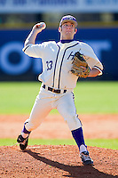 Relief pitcher Joe Goodman #33 of the High Point Panthers in action against the Dayton Flyers at Willard Stadium on February 26, 2012 in High Point, North Carolina.    (Brian Westerholt / Four Seam Images)