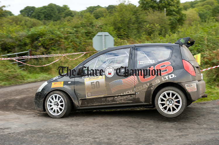 Niall O Sullivan and Ciara O Connell of Ennis in action during Stage 5 of the Clare Stages Rally at Ballinruan/Crusheen. Photograph by John Kelly.