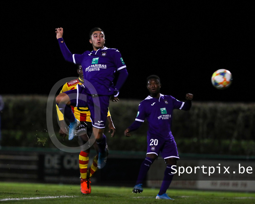 20191125 - WOLVERTEM: Anderlecht's Anouar Ait El Hadj scores during the Belgian Elite U21 league football match between RSC Anderlecht U21 and KV Mechelen U21 on Monday 25th of November 2019 at F. Lathouwersstadion, Wolvertem Belgium. PHOTO: SEVIL OKTEM|SPORTPIX.BE