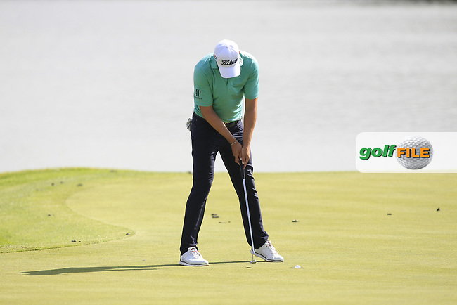 Peter Uihlein (USA) on the 15th green during Round 4 of the HNA Open De France  at The Golf National on Saturday 2nd July 2017.<br /> Photo: Golffile / Thos Caffrey.<br /> <br /> All photo usage must carry mandatory copyright credit       (&copy; Golffile | Thos Caffrey)