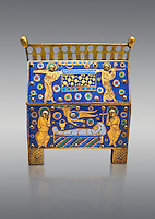 Medieval enamelled box depicting the entombment of a Saint, beginning of the 13th century from Limoges, enamel on gold. AD. Inv OA 949, The Louvre Museum, Paris.