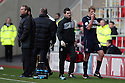 Mark Roberts of Stevenage leaves the pitch injured. Rotherham United v Stevenage - FA Cup 1st Round - New York Stadium, Rotherham - 3rd November 2012. © Kevin Coleman 2012.