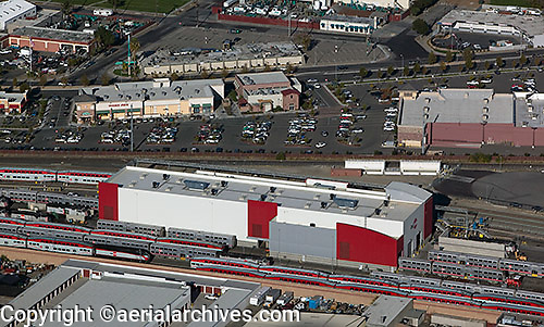 aerial photograph CalTrain station, San Jose, Santa Clara county, California