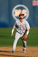 Pat Kelly #9 of the Nebraska Cornhuskers during a game against the Cal State Fullerton Titans at Goodwin Field on February 16, 2013 in Fullerton, California. Cal State Fullerton defeated Nebraska 10-5. (Larry Goren/Four Seam Images)