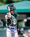 19 July 2018: Vermont Lake Monsters catcher Lana Akau in action against the Staten Island Yankees at Centennial Field in Burlington, Vermont. The Lake Monsters took the game with a 2-1, 9th inning walk-off win over the Yankees in NY Penn League action. Mandatory Credit: Ed Wolfstein Photo *** RAW (NEF) Image File Available ***