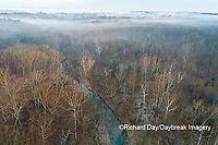 63895-17002 Stream and woods at sunrise Stephen A. Forbes State Park-aerial-Marion Co. IL