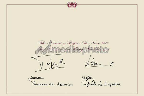 11 December 2016 - Madrid, Spain - The Spanish Royal Family's Official Christmas Card featuring a photo of King Felipe VI, Queen Letizia and their children, Princess Leonor and Princess Sofia. The Christmas card features a message signed by the four royal members that reads 'Merry Christmas and Happy New Year 2017'. Photo Credit: PPE/face to face/AdMedia