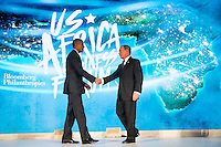 United States President Barack Obama shakes hands with former New York City mayor Michael Bloomberg before speaking at the U.S.-Africa Business Forum at the Plaza Hotel, September 21, 2016 in New York City. The forum is focused on trade and investment opportunities on the African continent for African heads of government and American business leaders. Photo Credit: Drew Angerer/CNP/AdMedia