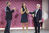 Defending Champion In Gee Chun (KOR) on stage with Franck Riboud Chairman and Jacques Bungert Vice-Chairman of the Tournament, at the opening ceremony of The Evian Championship 2017, the final Major of the ladies season, held at Hotel Royal, Evian-les-Bains, France. 12th September 2017.<br /> Picture: Eoin Clarke | Golffile<br /> <br /> <br /> All photos usage must carry mandatory copyright credit (&copy; Golffile | Eoin Clarke)