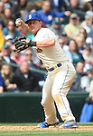 Seattle Mariners'  third baseman Kyle Seager throws to first base in a game against the Minnesota Twins   April 26, 2015 at Safeco Field in Seattle.  The Twins beat the Mariners beat the Angels 4--2. ©2015. Jim Bryant photo. All RIGHTS RESERVED.
