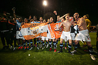Blackpool players celebrate winning the match and making the League Two Play Off Final during the Sky Bet League 2 Play Off Semi Final 2 leg match between Luton Town and Blackpool at Kenilworth Road, Luton, England on 18 May 2017. Photo by David Horn.