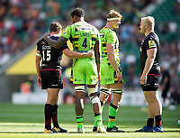 Alex Goode of Saracens and Courtney Lawes of Northampton Saints after the match. Aviva Premiership match, between Saracens and Northampton Saints on September 2, 2017 at Twickenham Stadium in London, England. Photo by: Patrick Khachfe / JMP