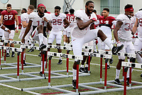 NWA Democrat-Gazette/DAVID GOTTSCHALK   Arkansas Razorback defensive back De'Andre Coley goes through drills Tuesday, August 1, 2017, during practice on campus in Fayetteville.