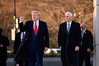 United States President Donald J. Trump and US Vice President Mike Pence visit the Martin Luther King Jr. Memorial in Washington, DC on January 20, 2020.<br /> Credit: Erin Scott / Pool via CNP/AdMedia