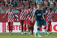 Juanpe of Girona is congratulated after scoring the first goal during Girona FC vs Tottenham Hotspur, Friendly Match Football at Estadi Montilivi on 4th August 2018