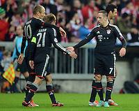 FUSSBALL   CHAMPIONS LEAGUE   SAISON 2012/2013   GRUPPENPHASE   FC Bayern Muenchen - LOSC Lille                          07.11.2012 Arjen Robben, Philipp Lahm und Franck Ribery (v. li., FC Bayern Muenchen)