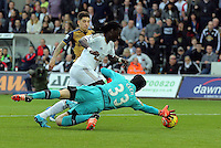 Bafetimbi Gomis of Swansea (C) is denied a goal by Petr Cech of Arsenal (R) during the Barclays Premier League match between Swansea City and Arsenal at the Liberty Stadium, Swansea on October 31st 2015
