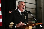 Assistant Chief Tom Tarulli emcees Carson City Fire Chief Bob Schreihans' badge-pinning ceremony at Station 51 in Carson City, Nev., on Tuesday, Feb. 3, 2015. <br /> Photo by Cathleen Allison