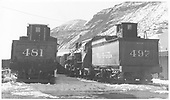 Left rear view of K-37 #497 tender and rear view of K-36 #481 tender.<br /> D&amp;RGW  Durango ?, CO