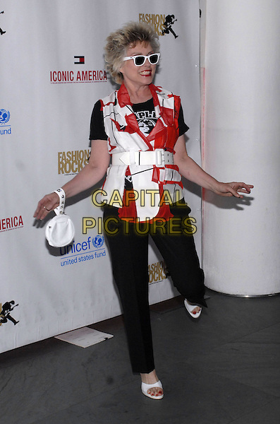 DEBBIE HARRY.Tommy Hilfiger and George Lois celebrate the collaboration on Iconic America and announce their support for the US Fund for UNICEF at MOMA, New York, New York, USA..September 5th, 2007.full length black trousers open toe white shoes nail varnish polish sunglasses shades belt red pattern top bracelet clutch purse arms outstretched posing gesture standing on one foot funny .CAP/ADM/BL.©Bill Lyons/AdMedia/Capital Pictures *** Local Caption ***