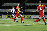 John McGinn shoots to score the opening goal in the St Mirren v Dunfermline Athletic Clydesdale Bank Scottish Premier League U20 match played at St Mirren Park, Paisley on 2.10.12.