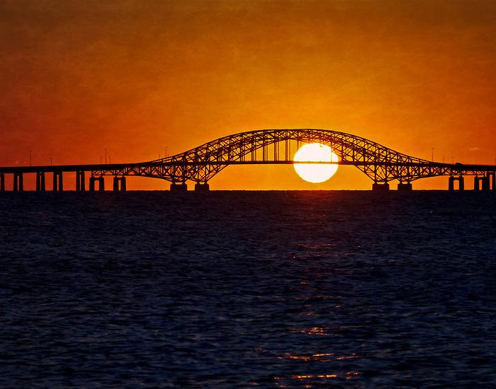 Sunrise under the Robert Moses Causeway Bridge in Babylon, Long Island