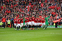 Pictured: Manchester United players come out to the pitch celebrating. Sunday 12 May 2013<br /> Re: Barclay's Premier League, Manchester City FC v Swansea City FC at the Old Trafford Stadium, Manchester.