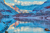 Winter along the Colorado River with Fisher Towers, Fisher Mesa, and La sal Mountains reflection, Near Moab, Uath