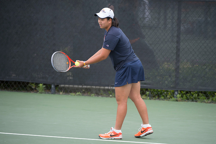 April 25, 2014; San Diego, CA, USA; Pepperdine Waves player Apichaya Runglerdkriangkrai during the WCC Tennis Championships at Barnes Tennis Center.