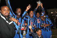 Lapton celebrate with the cup - Lapton (blue/black) vs Bancroft United (yellow/white) - Hackney & Leyton League Dickie Davies Cup Final at Waltham Forest FC - 29/04/11 - MANDATORY CREDIT: Gavin Ellis/TGSPHOTO - Self billing applies where appropriate - Tel: 0845 094 6026
