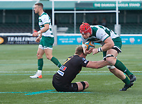 Kieran Murphy of Ealing Trailfinders and Will Allman of of Ampthill RUFC during the RFU Championship Cup match between Ealing Trailfinders and Ampthill RUFC at Castle Bar , West Ealing , England  on 28 September 2019. Photo by Alan  Stanford / PRiME Media Images
