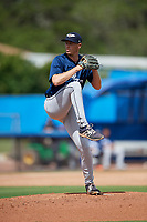 Lakeland Flying Tigers relief pitcher Evan Hill (32) delivers a pitch during a game against the Dunedin Blue Jays on May 27, 2018 at Dunedin Stadium in Dunedin, Florida.  Lakeland defeated Dunedin 2-1.  (Mike Janes/Four Seam Images)