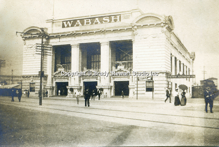 St Louis Mo:  View of the Wabash Railroad Station depot and Exhibit at the St Louis World's fair - 1904.  The Stewarts arrived at the Fair through this depot.