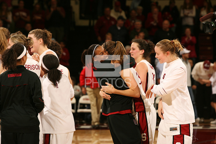 25 February 2007: Candice Wiggins hugs Brooke Smith during Stanford's 56-53 win over USC at Maples Pavilion in Stanford, CA.