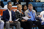 14 November 2014: UNC head coach Sylvia Hatchell (center) with assistant coaches Bill Lee (left) and Andrew Calder (right). The University of North Carolina Tar Heels hosted the Howard University Bison at Carmichael Arena in Chapel Hill, North Carolina in a 2014-15 NCAA Division I Women's Basketball game. UNC won the game 83-49.