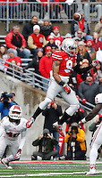 Ohio State Buckeyes wide receiver Devin Smith (9) misses a pass in the second quarter of their game at Ohio Stadium in Columbus, Ohio on November 22, 2014. (Columbus Dispatch photo by Brooke LaValley)