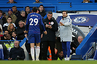 Alvaro Morata of Chelsea protests his innocence after being shown a yellow card by referee, Kevin Friend during Chelsea vs Everton, Premier League Football at Stamford Bridge on 11th November 2018