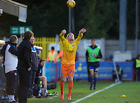 Jason McCarthy of Wycombe Wanderers takes a throw in during the Sky Bet League 2 match between AFC Wimbledon and Wycombe Wanderers at the Cherry Red Records Stadium, Kingston, England on 21 November 2015. Photo by Alan  Stanford/PRiME.