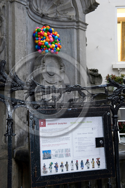 Brussels-Belgium - February 02, 2010 -- .Manneken Pis, one of the main symbols and tourist attractions of Brussels, in his dress designed by Ágatha Ruiz de la Prada from Spain -- Photo: Horst Wagner / eup-images