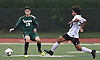 Matt Garcia #19 of Seaford, left, and Jhon De La Cruz of Island Trees, battle for possession during a Nassau County Conference A-6 varsity boys soccer game at Seaford High School on Monday, Oct. 8, 2018. Garcia scored the first goal of the match early in the second half. The game ended in a 1-1 tie.