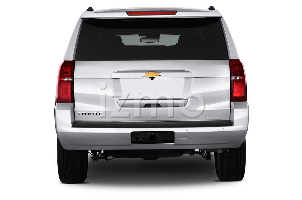 Straight rear view of 2015 Chevrolet Tahoe 2WD LT 5 Door SUV Stock Photo
