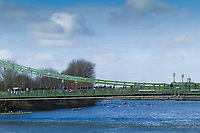 Hammersmith. London. United Kingdom,  Crews/ competitors passing under Hammersmith Bridge, making their way up river to the start at of the 2018 Men's Head of the River Race, at Mortlake. Championship Course, Mortlake to Putney.  River Thames, <br /> <br /> Sunday   11/03/2018<br /> <br /> [Mandatory Credit:Peter SPURRIER Intersport Images]<br /> <br /> Leica Camera AG  M9 Digital Camera  1/500 sec. 50 mm f. 160 ISO.  17.5MB